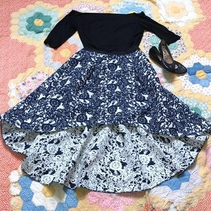 Anthropologie Hi Lo Blue and White Skirt Size 12P